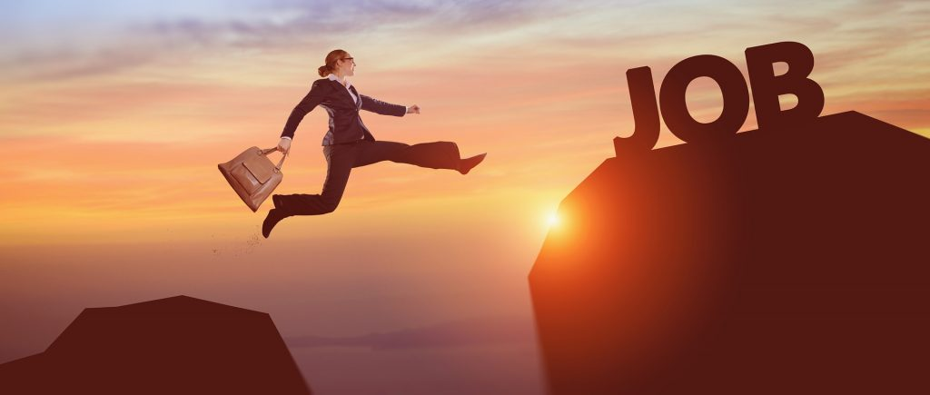 Woman leaping over abyss to a new job - Employment gaps are not deadly - Tanagui